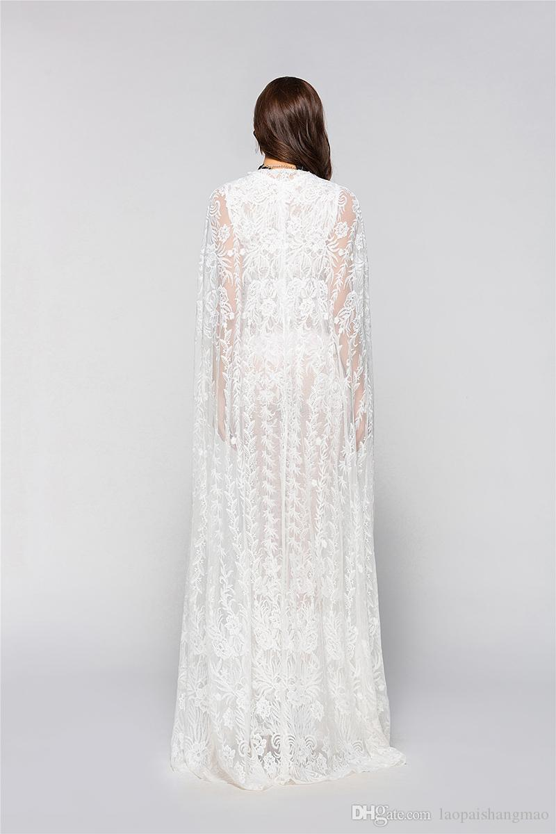 Summer women's wear lace dress V collar sleeveless high waist pure white dress + nightclub wedding cloak fashion suit two pieces