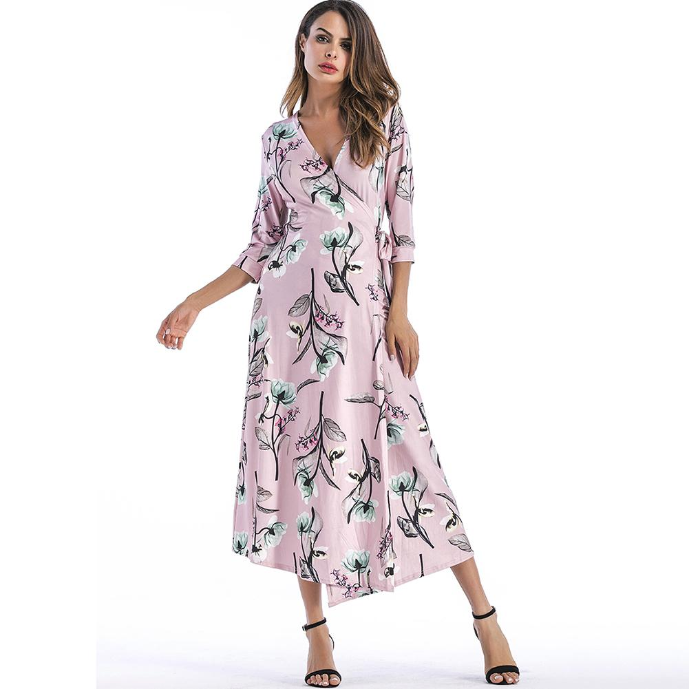 87a153c14f21 2018 Spring Summer New Long Wrap Dress Female Fashion Women Floral Print  Dress V Neck 3 4 Sleeve Tie Waist Boho Slim Dress Pink Lace Outfits Junior  Cocktail ...
