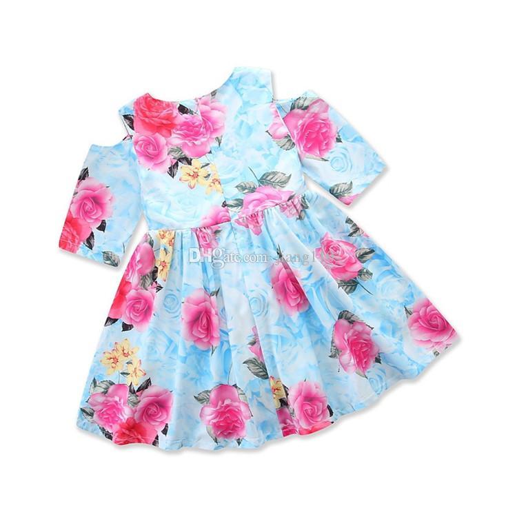 Girl Dresses Summer Kids Princess 2018 Party Dress Off Shoulder Short Sleeve Infant Birthday Dress Floral Flower Baby Girl Clothes Dresses