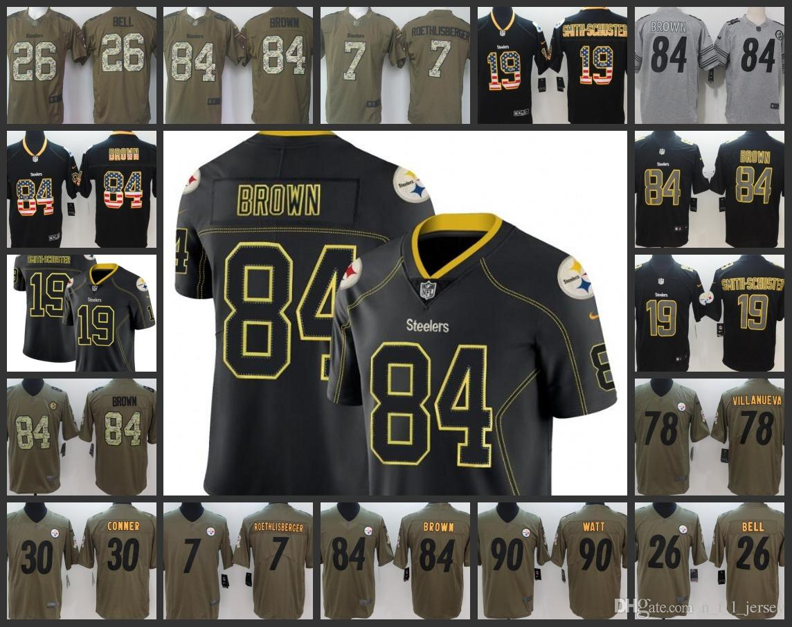 Pittsburgh Steelers Embroidery Man Jersey  7 Ben Roethlisberger 19 JuJu  Smith-Schuster 84 Antonio Brown Women Youth Football Jerseys Online with ... f230debb4