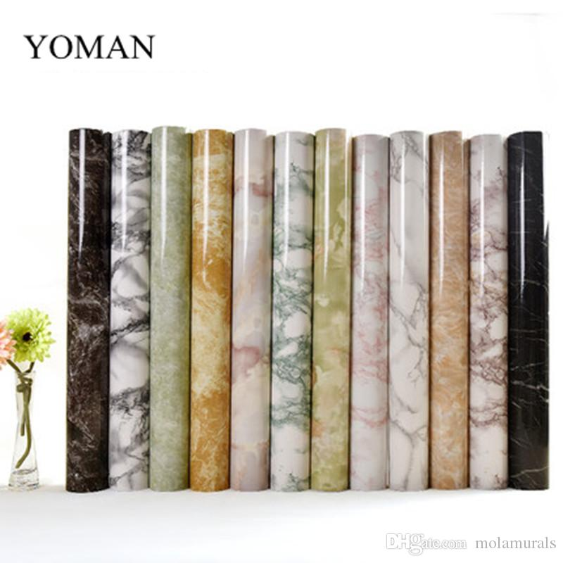 5M Marble Waterproof Vinyl Self Adhesive Wallpaper Modern Contact Paper Kitchen  Cupboard Shelf Drawer Liner Wall Stickers Adhesive Wallpapers Roll Modern  ...