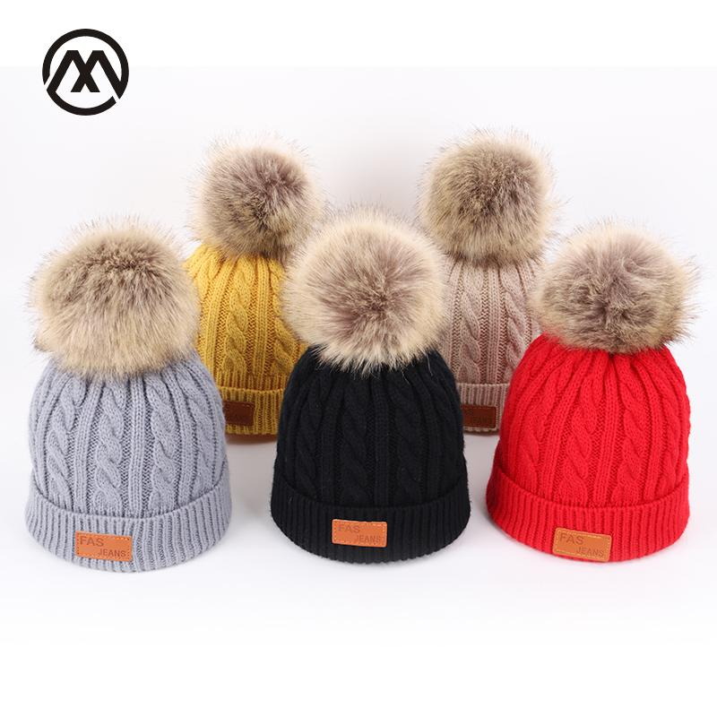 cfe8a9c3405 Solid Color Knitted Cotton Caps Children s Autumn And Winter Kids Warm  Pompoms Ski Hats Boys And Girls Universal Faux Fur Beanie Skullies   Beanies  Cheap ...