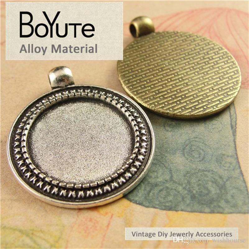 BoYuTe 40 pezzi / lottp 20mm accessori base cabochon parti bronzo antico argento vassoio vuoto fai-da-te collana pendenti gioielli componenti