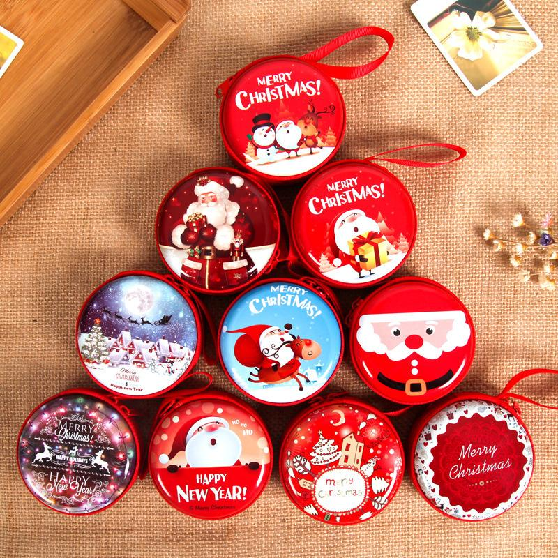 christmas santa claus snowman mini tin box sealed jar packing boxes christmas candy gift box kids gift random style delivery decoration christmas decoration