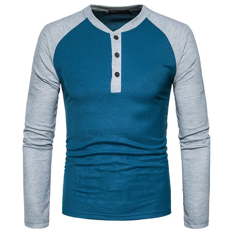 4363f179459276 Großhandel Männer T Shirt 2018 Marke Patch Farbe Raglanärmel Casual Schlank  Langarm T Shirt Männer Baumwolle Plus Größe Tees Schwarz Weiß Rot Blau Von  ...
