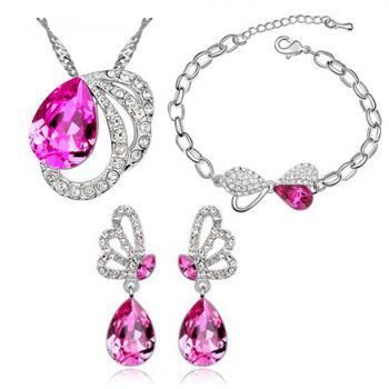 Goutte D'eau En Forme De Boucles D'oreilles Collier Bracelet Femmes De La Mode De Mariage Ensembles De Bijoux, A50 + B101 + E14