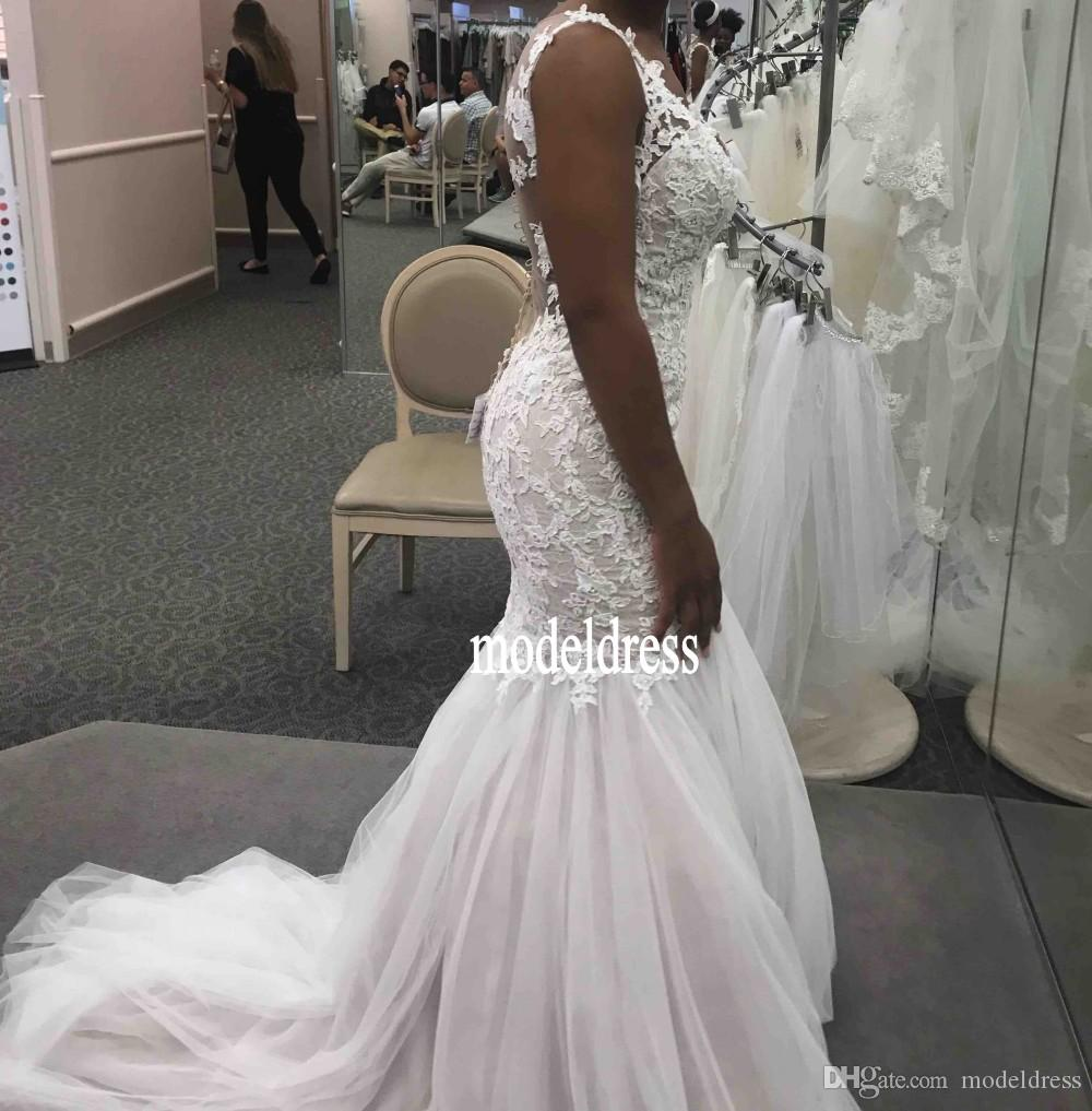 Gorgeous Illusion Back Lace Wedding Dresses 2018 Sweetheart Appliques Mermaid Court Train Arabic African Bridal Gowns Plus Size Customized