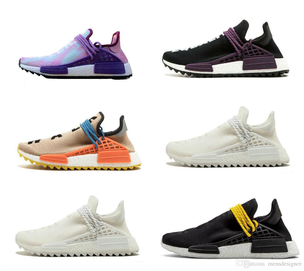 0c56c8014 Cheap Human Race Running Shoes Pharrell Williams Hu Trail Cream Core Black  Nerd Equality Holi Nobel Ink Trainers Mens Women Sports Sneaker