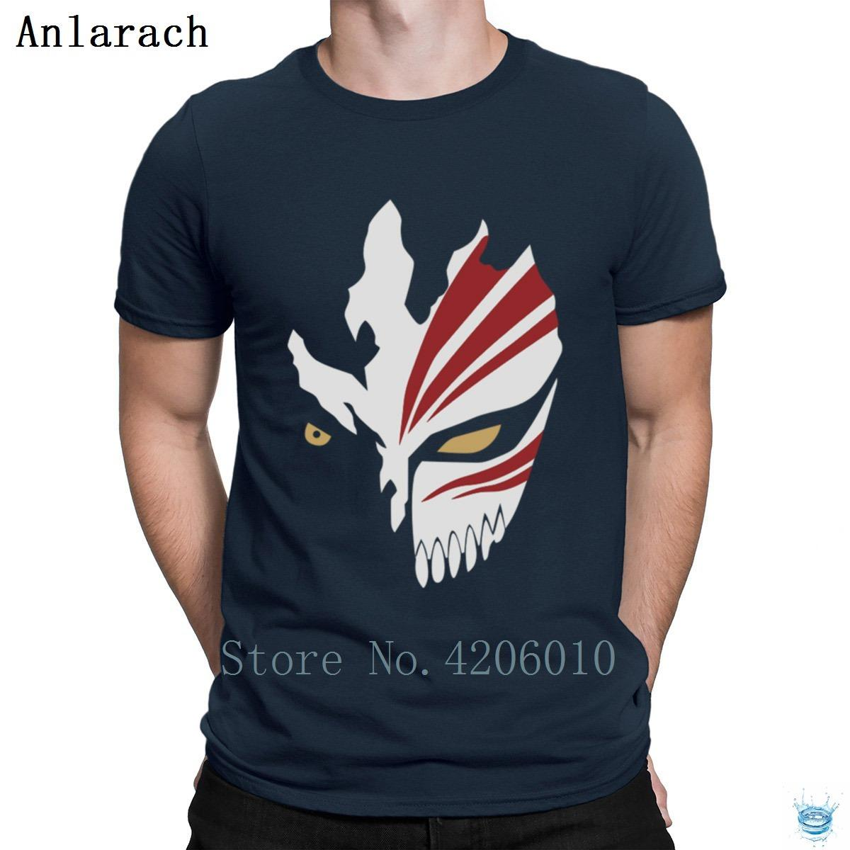 85843fb2f8694 Ichigo Hollow Mask Bleach Anime T-Shirt Nice Famous Branded Slim Men s  Tshirt Short Sleeve Knitted HipHop Top Spring