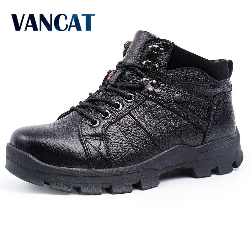 f517abcbc31 VANCAT Winter Men Boots 100% Genuine Leather Men Snow Boots Warmth ...