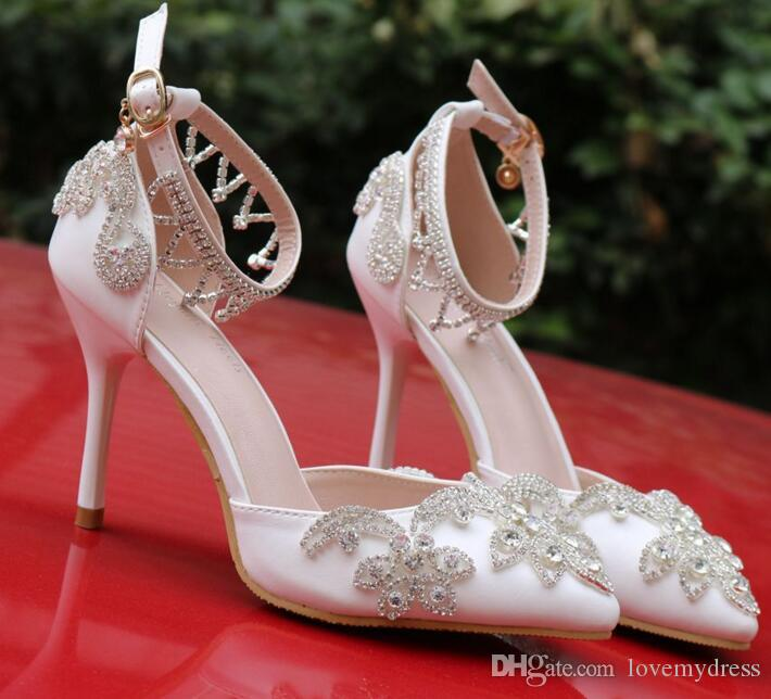 6f59679f8c2 Luxury Crystal Wedding Bridal Shoes For Bride Designer Rhinestones High  Quality Women Designer Sandals Cheap High Heel 9CM Pointed Toe Bridal Shoes  Shop ...
