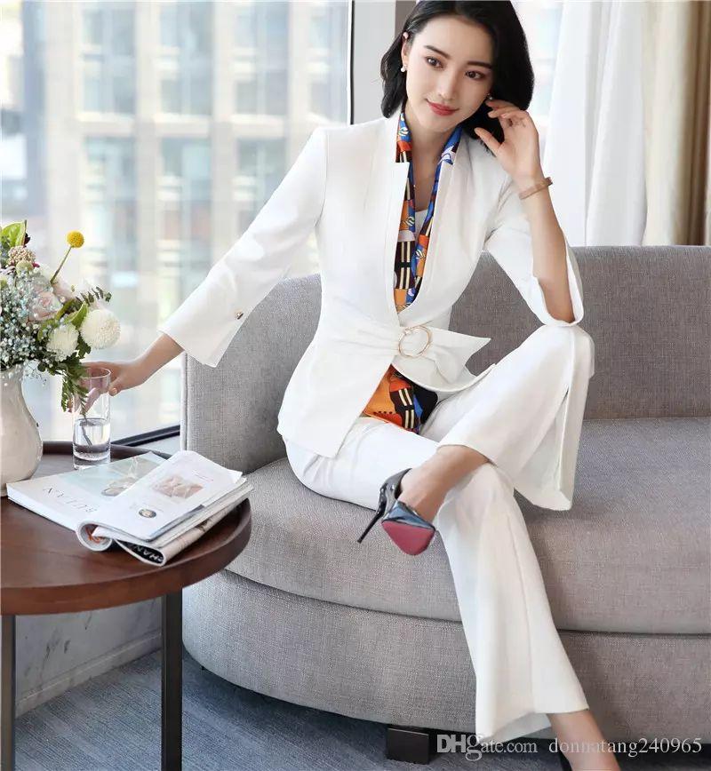 2902d8328bf 2019 Set Fashion Temperament Women Wide Leg Pants Suits Elegant Slim Half  Sleeve Blazer And Trousers Office Ladies Plus Size Work Wear White From  Dujotree