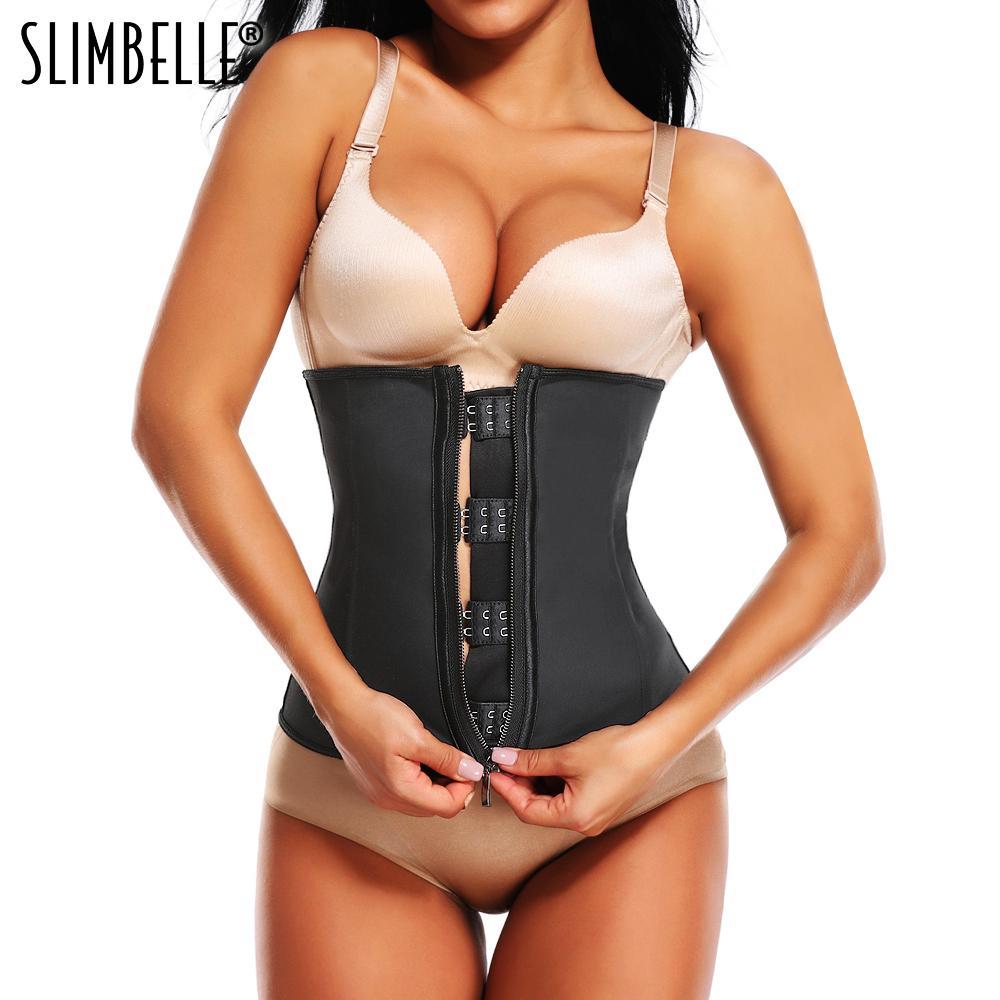 eb2de3b901fd6 Women Waist Trainer Corset Body Shaper Black Latex Rubber Steel Boned  Zippers Firm Waist Cinchers Modeling Strap Tummy Control