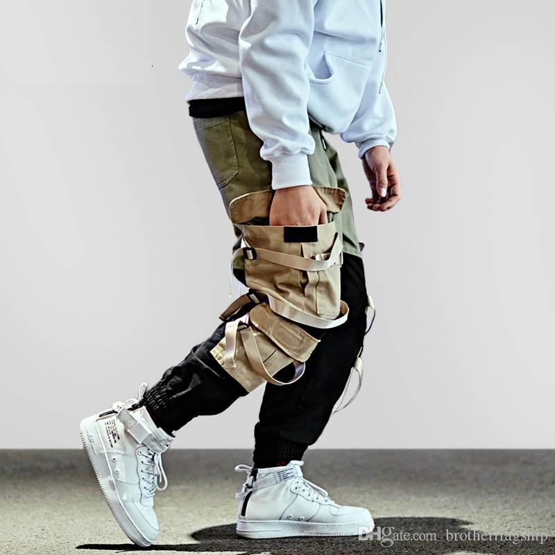 Acquista Pantalone Cargo Hip Hop Streetwear Uomo Pantalone Pantalone Harem  Patchwork Pantalone Multi Tasche Pantalone Tatical Casual Swag Ribbon  Harajuku ... 563cacfab2b9