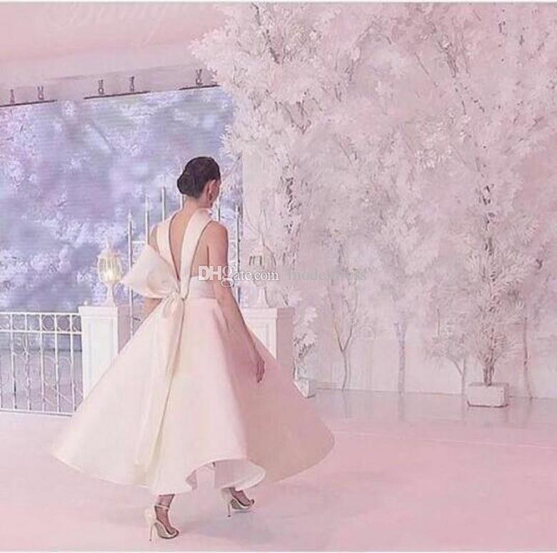 2019 Dernière Piste Robes De Soirée Halter Col Haut Dos Nu Big Bow Longueur De Cheville Longueur Satin Blanc Noir Prom Party Rouge Tapis Robes Vestidos