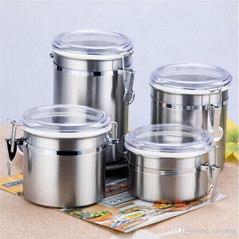 2018 Stainless Steel Airtight Sealed Canister Coffee Flour Sugar