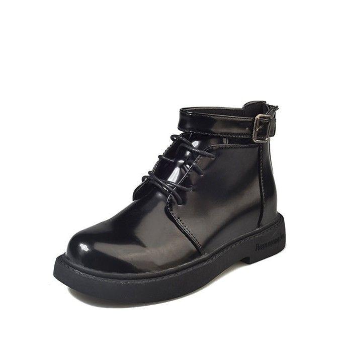 Women Black Boots Doc 2018 British Vintage Classic Patent Leather Boots  Female Thick Heel Motorcycle Women S Bota Feminina Mens Chelsea Boots Black  Combat ... 23a10d335a6b