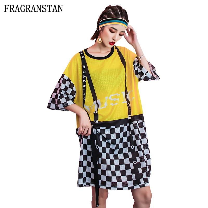 2018 Women Hip Hop Street Style Plus Size Cotton Dress Female BF ...