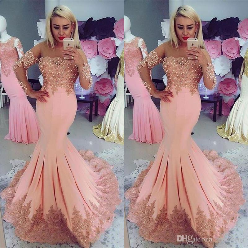 Designer Prom Dresses: 2018 Designer Pink Mermaid Prom Dresses Long Sleeve Off