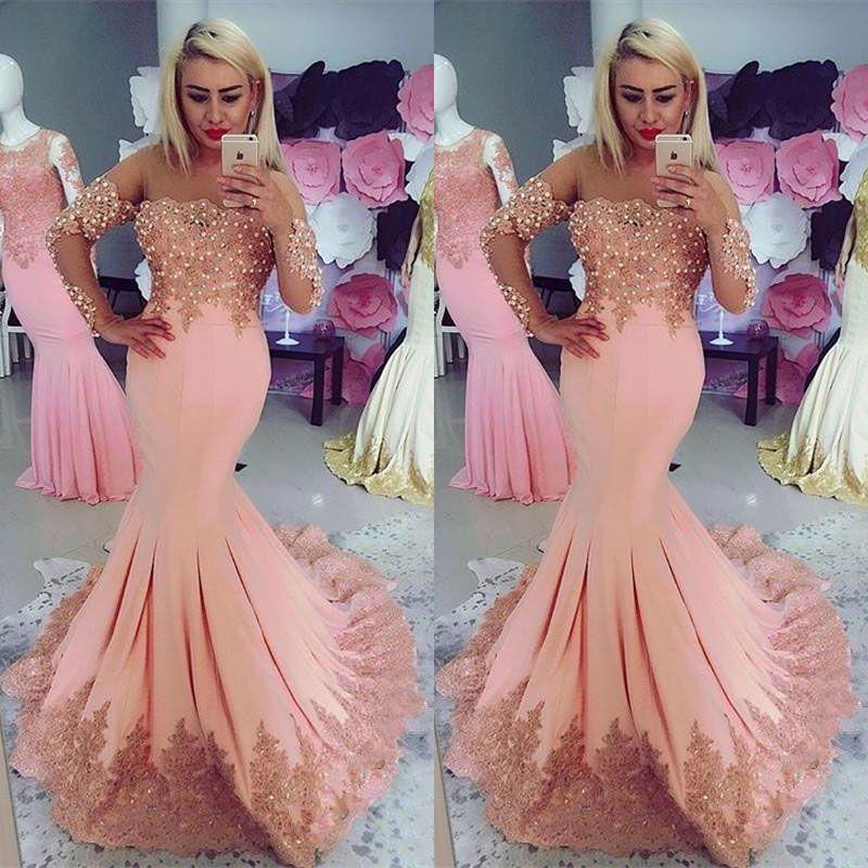 48ac75040c61 Acquista 2018 Designer Pink Mermaid Prom Dresses Maniche Lunghe Spalle  Spalla Perle Abito Da Sera Indumento In Pizzo Appliqued Plus Size Abiti  Formali A ...