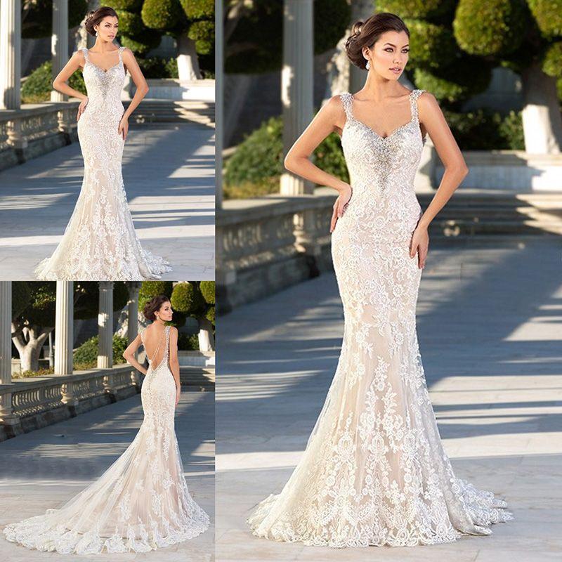 864cd74d72a Vintage Mermaid Wedding Dresses Spaghetti Staps Beaded Backless Lace Long  Bridal Party Gowns Plus Size Vestidos De Novia Sirena Encaje Modern Wedding  ...