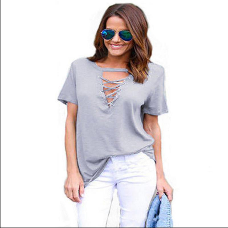 3fbcc9e3fc638 2019 New Fashion Sexy Women Bandage T Shirts Short Sleeve V Neck Cotton Tops  Shirt Outfit Sunsuit Casual Tops Female Tees It T Shirt The T Shirt From ...