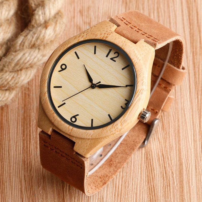6e2cdc58735b Compre Bamboo Watch Men Quartz Reloj De Pulsera Simple Light Mens Reloj De  Madera Para Hombres Mujeres Con Correa De Cuero Genuino Marrón Hot Fashion  A ...