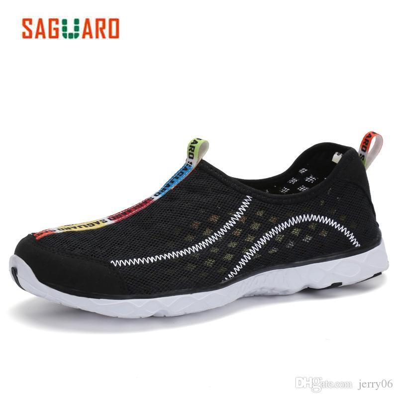 89e69cdc1c9fd Compre Saguaro Nuevos Zapatos Casuales Hombres 2017 Verano De Malla  Transpirable Zapatos De Malla Para Unisex Suave Ligero Zapatos De Playa  Masculinos ...