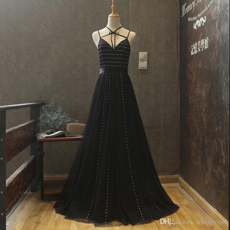595c09b574d 2018 Real Design Sexy Black Evening Dresses A Line Elegant Spaghetti Straps  Crystals Beaded Floor Length Formal Prom Party Gowns Wear 3132 Evening Dress  ...