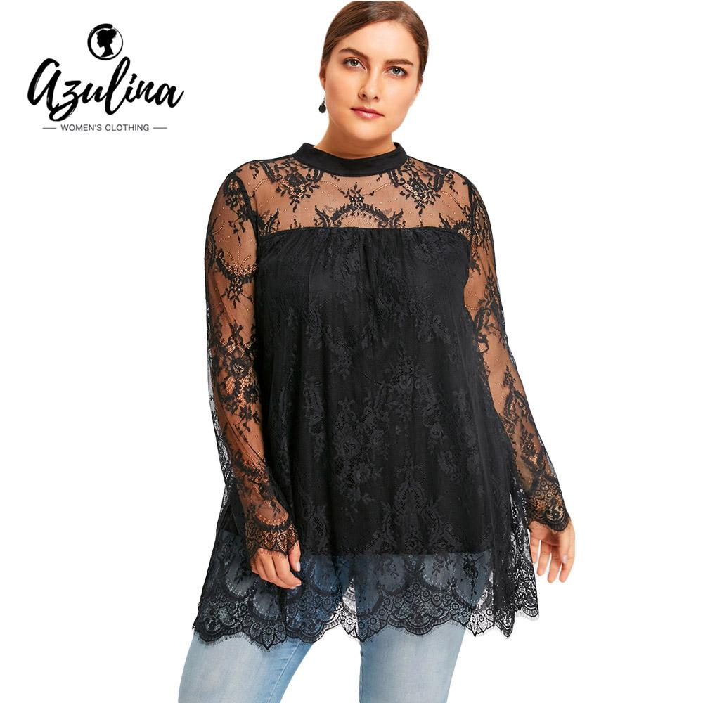 78fa891a7354e 2019 AZULINA Women Lace Blouse Plus Size Lace Scalloped Edge Blouse Shirt  Autumn 2017 Black Long Sleeve Blusa Feminina Women Tops 5XL From Yanmai
