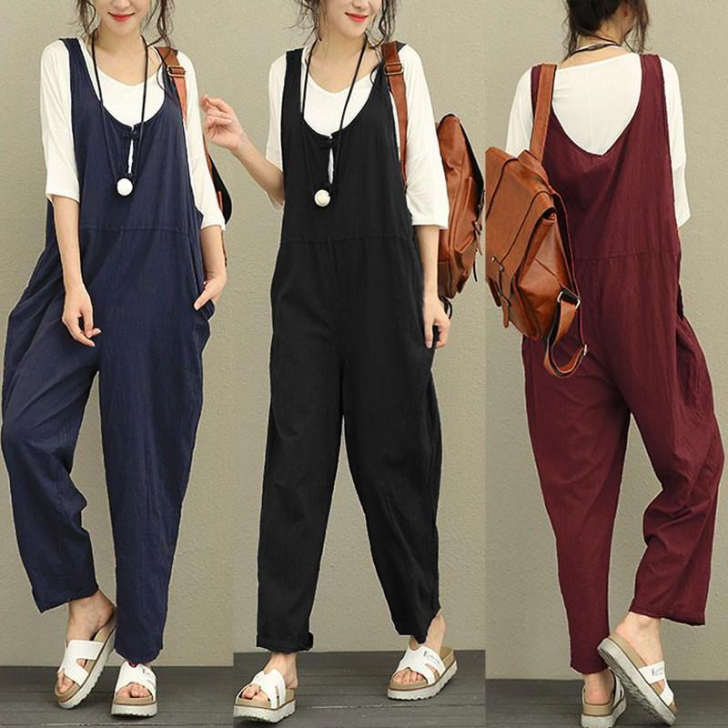 143884760fc 2019 Celmia Women Jumpsuit 2018 Summer Autumn Casual Bottom Sleeveless  Backless Rompers Solid Loose Linen Playsuit Plus Size Overalls From  Yuedanya
