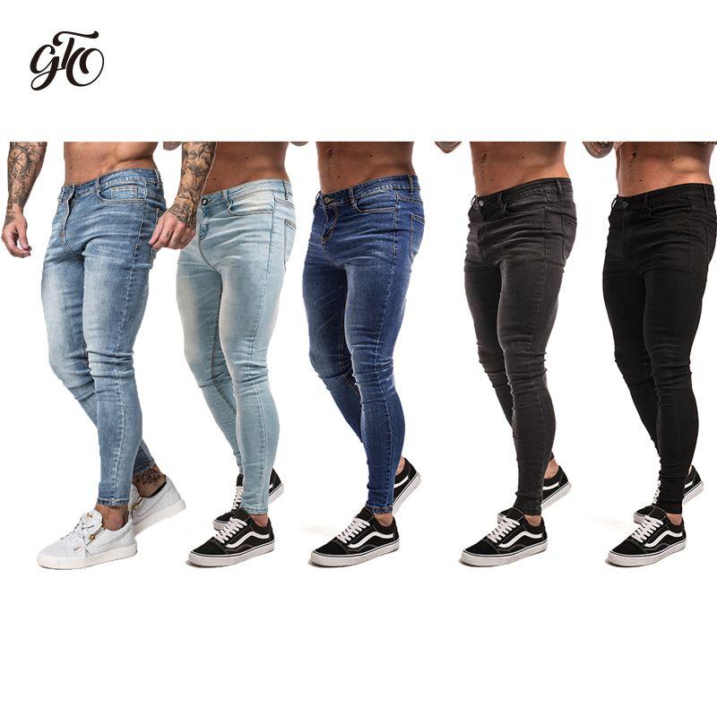 1150b00c8a Compre Gingtto Skinny Jeans Para Hombres Streetwear Negro Hip Hop Pantalones  Vaqueros Elásticos Hombre Slim Fit Moda Tobillo Apretado Dropshipping Zm01  ...