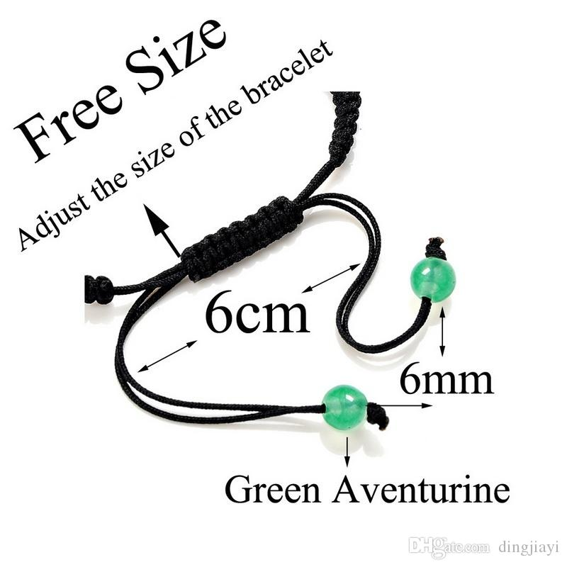 8mm شقرا الخرز أساور قابل للتعديل مضفر حبل شفاء الفيروز سوار للرجال النساء ريكي الصلاة الحجارة ذراع صفعة