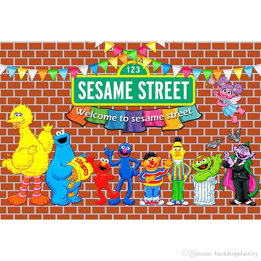 2018 Sesame Street Birthday Party Themed Backdrop Photography Baby Kids Children Elmo World Red Brick Wall Photo Booth Background From Backdropsfactory