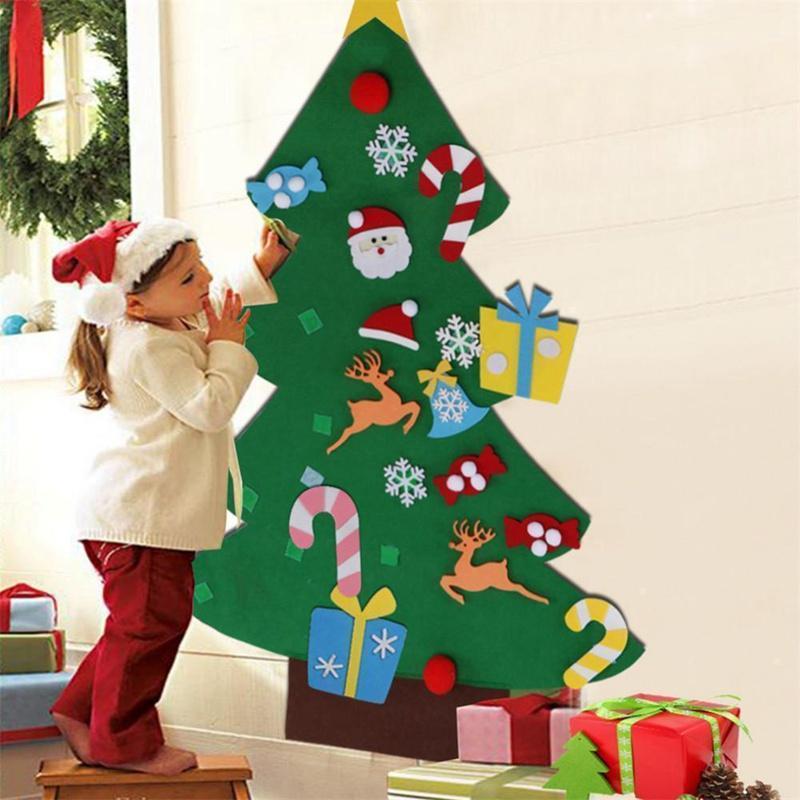 Albero Di Natale Fai Da Te Per Bambini.2018 Natale Fai Da Te Albero Di Natale In Feltro Adesivo Per Bambini Regali Porta Appeso Decorazioni Di Natale Decorazioni Di Natale Per La Casa