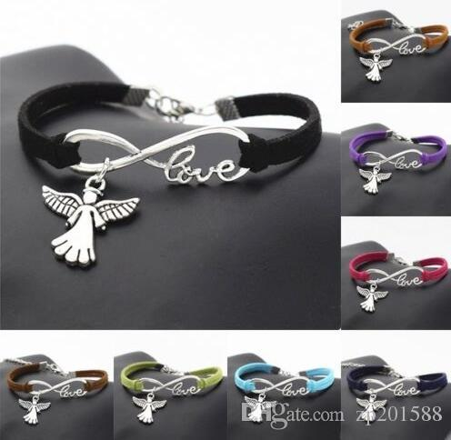 Vintage Silver LOVE Infinity Charms Angel Wings Bracelet Bangle For Women Mixed color Velvet Rope Bracelets Jewelry Gift Accessories