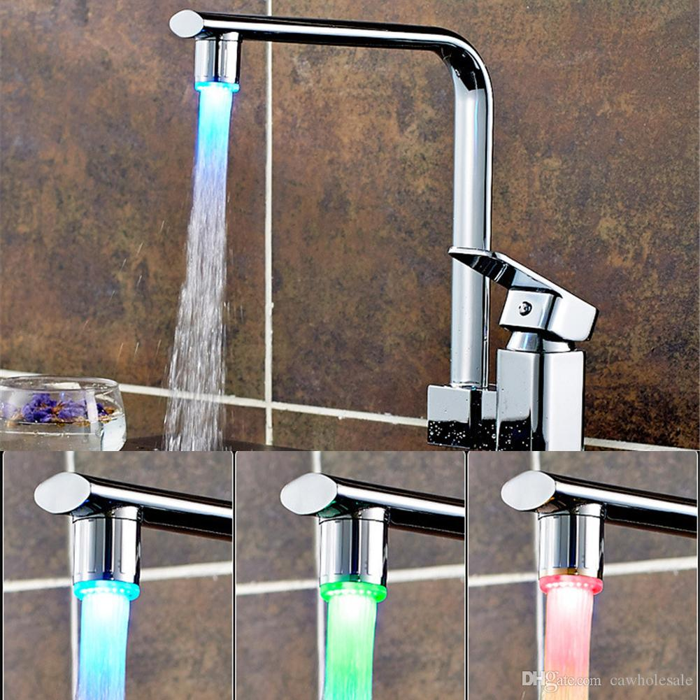 Copper Light-emitting Faucet Change LED Water Faucet by Temperature ...