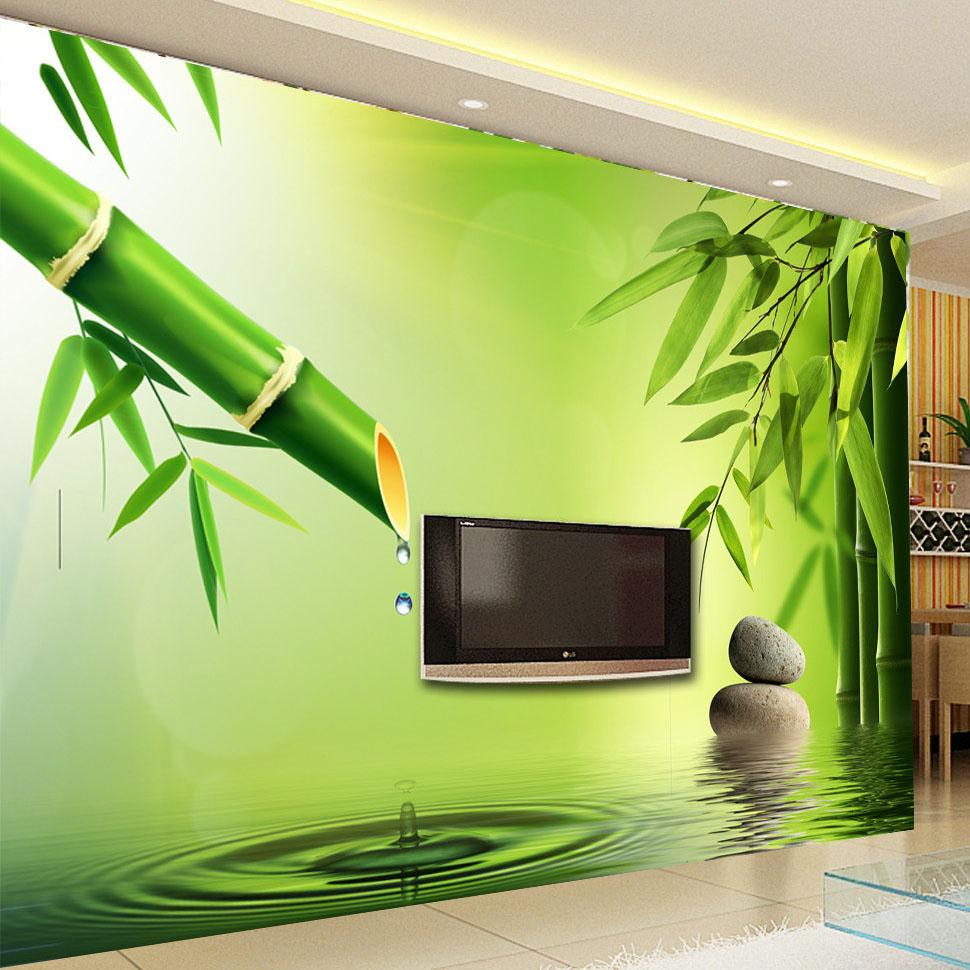 Custom 3D Photo Wallpaper 3D Stereoscopic Green Bamboo Water Drops  Background Wall Murals For Living Room Decoration Wallpaper