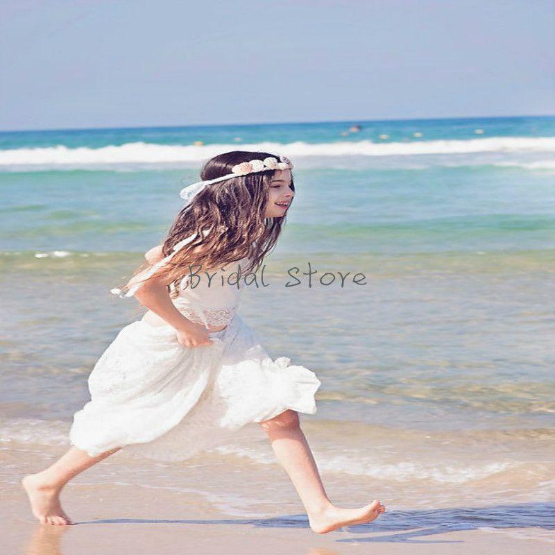 376aa9dbd4b Beautiful White Beach Summer Flower Girl Dresses Spaghetti Straps Full  Length Chiffon Lace Two Piece Junior Bridesmaid Maid Of Honor Dress Ivory  Girl ...