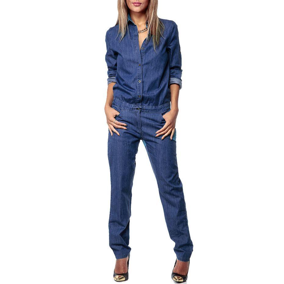 Bohoartist Women Denim Jumpsuit Blue Autumn Long Sleeve Overalls