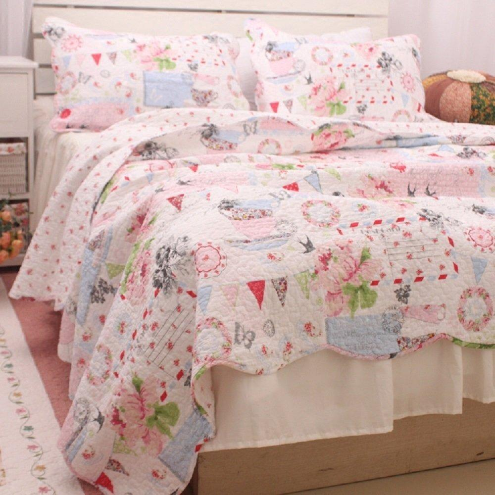 Luxurious Romantic Floral Summer Quilt Fairy Girls Comforter Bedding