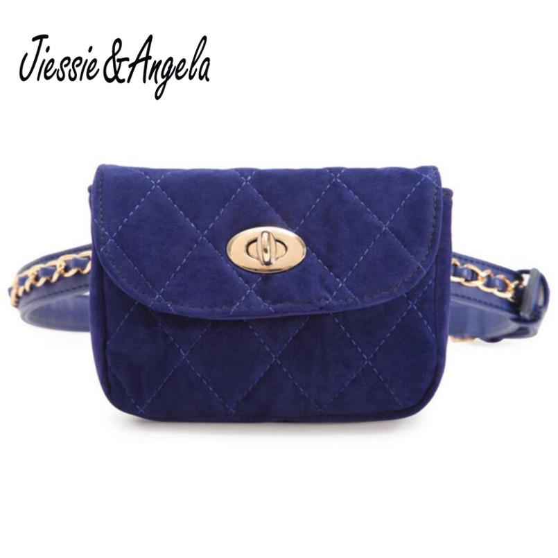 Jiessie & Angela New Designer Women Belt Bag Velvet Mini Waist Bag Crossbody Plaid Small Women Travel Bags Waist Pack Bolsas