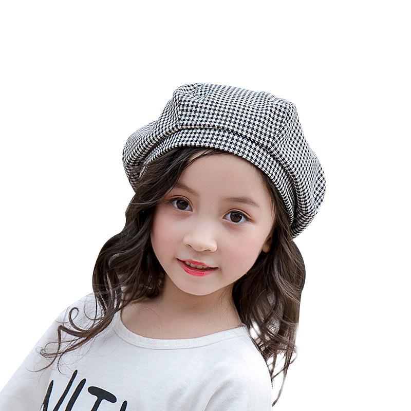Compre Moda Xadrez Meninas Boina Chapéu De Algodão Chapéu Do Pintor Para  Meninas Primavera Outono Crianças Capota 2 6 Boina Crianças De Benedicty 7fe3ab4f699