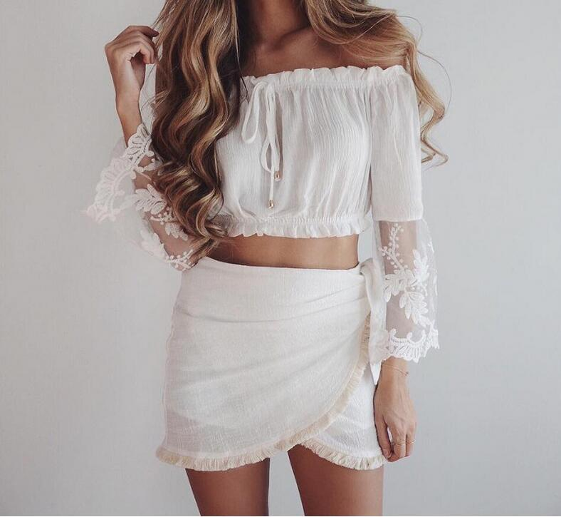 bd28924d97112 2019 Sexy Off Shoulder Top Ruffled Women Blouses Shirt Women Crop Tops  White Blouse Hollow Out Blusas 2019 Summer Femme Cool Blusas From  Stephanie04
