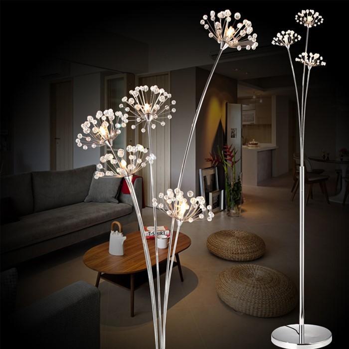 Moderne Étude Chambre Gratuite Lampe Lumière Salon En Livraison Simple Boutique Led Pissenlit Cristal Plancher Lampadaire Robe De Mariée nk0PwO