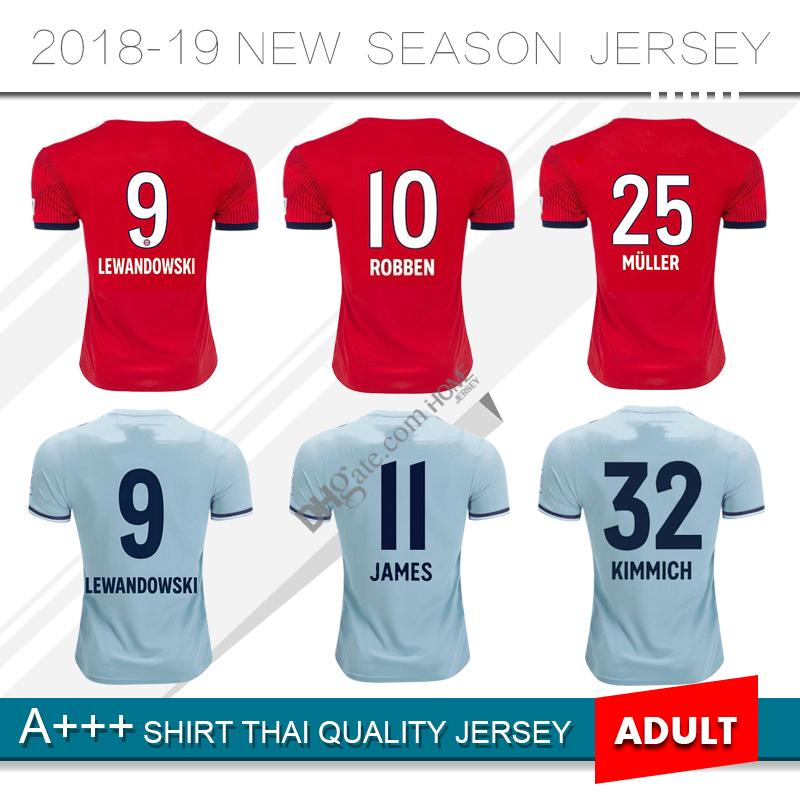 62478b4be81 2019 Bayern Soccer Jersey 18 19 FC Bayern Munich Home Red Soccer Jerseys   25 MULLER  11 JAMES  9 LEWANDOWSKI Soccer Shirts Uniform Jersey From  Homejersey