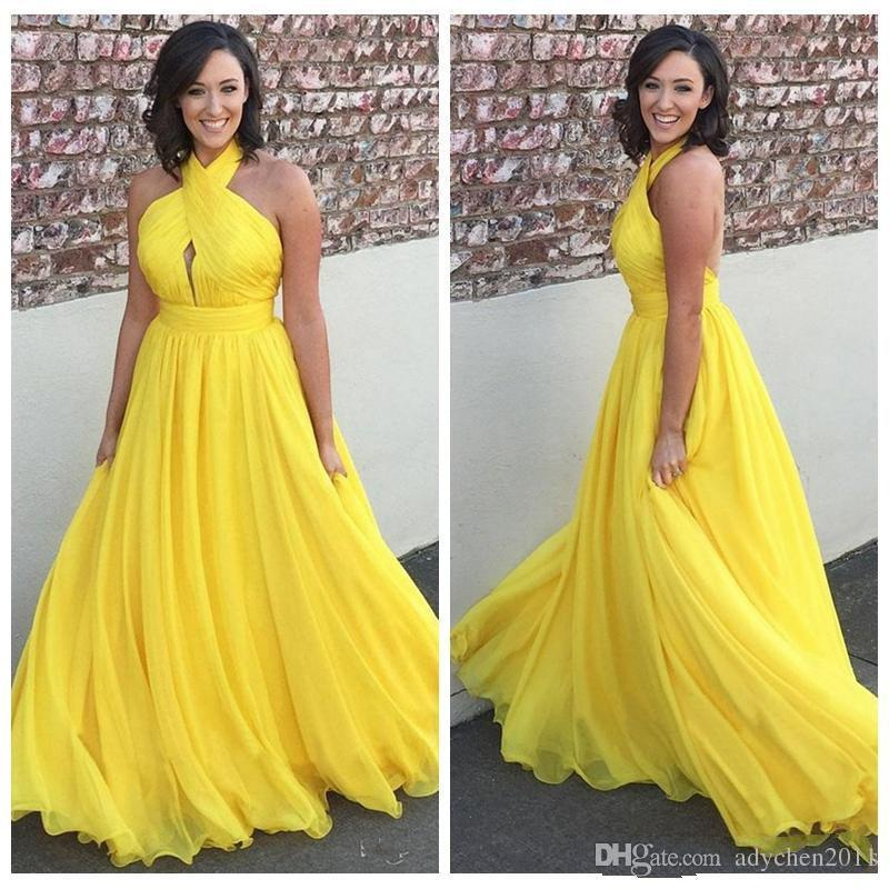 Yellow Prom Dresses Long 2019 Pleated Halter A Line Backless Chiffon Evening Party Gowns Vestidos Festa Plus Size Formal Dresses Hot Sale