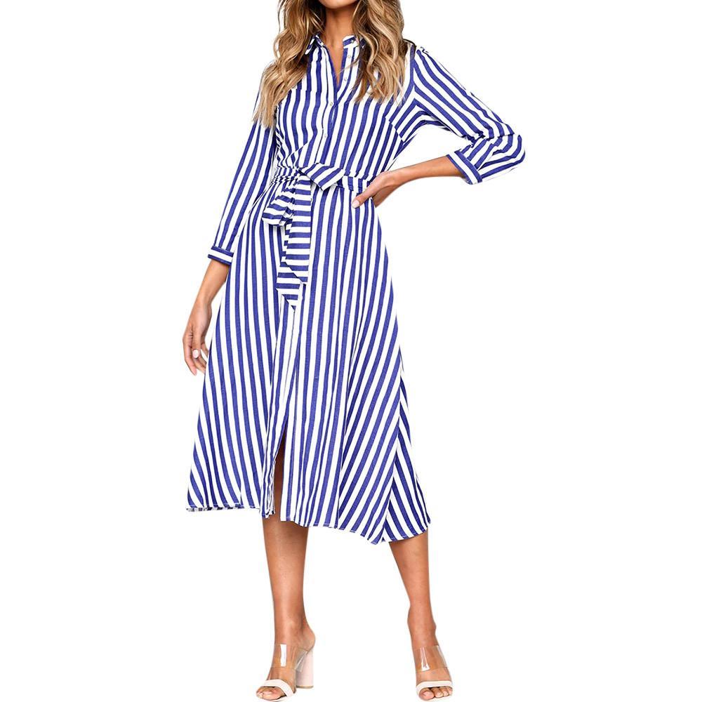 Compre Vestidos De Rayas Verticales Azules De Las Mujeres Vestido De La  Camisa De La Solapa Del Otoño Vestido Sin Mangas De La Manga Tres Cuartos  De La ... ca6549bc25d5