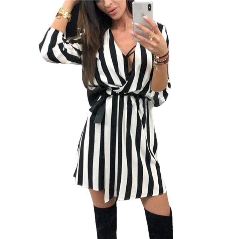 Sexy Deep V Neck Mini Dress Women Summer Black And White Striped Dress Women  Lace Up Casual Loose Dresses Vestidos Women Dress Collection Shopping For A  ... 0e5f2abcc