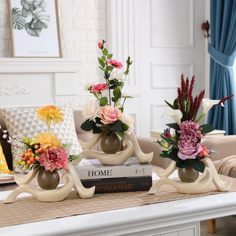 European Creative Ceramic Vaseartificia Flower Ornament Decoration